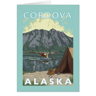 ブッシュの飛行機及び魚釣り- Cordova、アラスカ カード