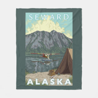 ブッシュの飛行機及び魚釣り- Seward、アラスカ フリースブランケット