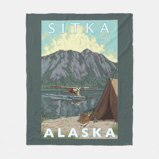 ブッシュの飛行機及び魚釣り- Sitka、アラスカ フリースブランケット