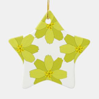 ブッシュの黄色い花 セラミックオーナメント