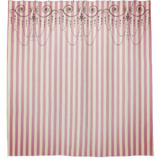 ブティックのストライプのピンク/シャンデリア- シャワーカーテン