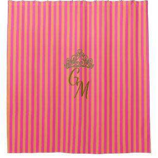 ブティックのストライプのピンク-モノグラム/ シャワーカーテン