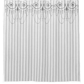 ブティックのストライプの灰色/シャンデリア- シャワーカーテン