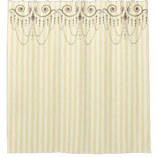 ブティックのストライプの黄色/シャンデリア- シャワーカーテン