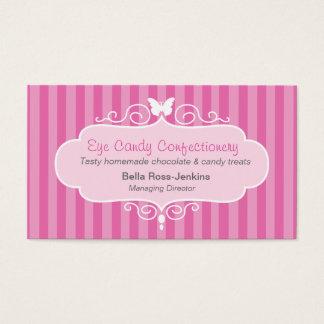 ブティックの店キャンデーのピンクのストライブ柄の名刺 名刺