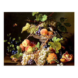 ブドウのフルーツの鳥の静物画の絵画 ポストカード
