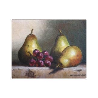 ブドウの元の油絵のナシ キャンバスプリント