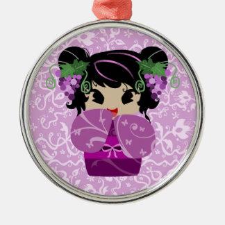 ブドウのKokeshiのかわいい人形 メタルオーナメント