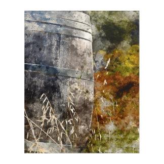 ブドウ園の秋のワインバレル アクリルウォールアート