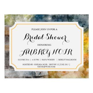 ブドウ園またはワイナリーの結婚式のためのブライダルシャワー ポストカード