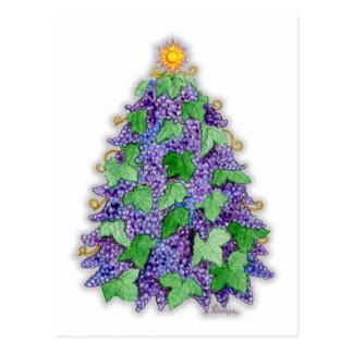 ブドウ酒用ブドウのクリスマスツリー ポストカード