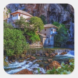 ブナの滝、ボスニアの小さい村Blagaj スクエアシール