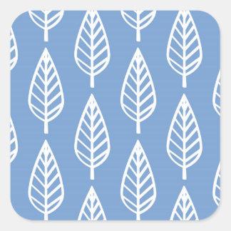 ブナの葉パターン-スカイブルーおよび白 スクエアシール