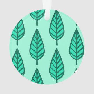 ブナの葉パターン-ターコイズおよび水 オーナメント