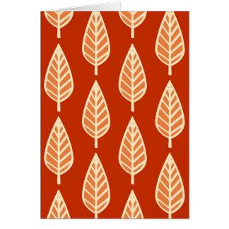 ブナの葉パターン-マンダリンオレンジの陰 カード