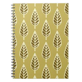 ブナの葉パターン-ラクダの日焼けおよび茶色 ノートブック