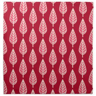 ブナの葉パターン-ルビー色の赤いおよびクリーム色 ナプキンクロス