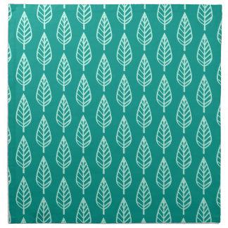 ブナの葉パターン-孔雀および水 ナプキンクロス