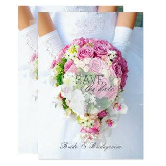 ブライダルの保存日付のレースの花の花束の結婚式 12.7 X 17.8 インビテーションカード