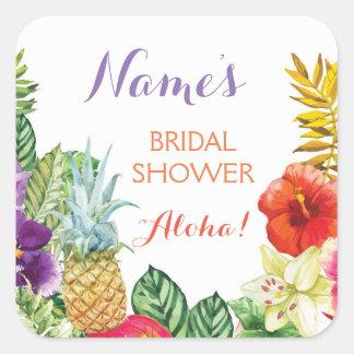ブライダルシャワーのアロハルアウ(ハワイ式宴会)のTikiのステッカーのラベル スクエアシール