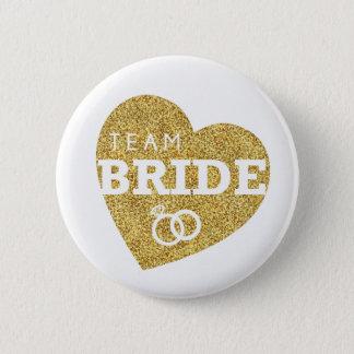 ブライダルシャワーのチーム花嫁の金ゴールドのグリッターのバチェロレッテ 5.7CM 丸型バッジ