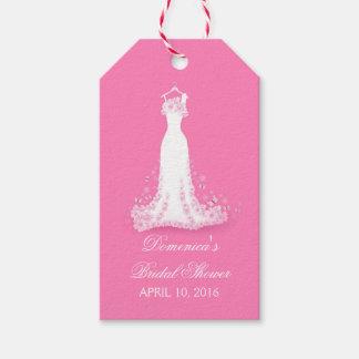 ブライダルシャワーのピンク-暗い赤紫色の婚礼衣裳 ギフトタグ