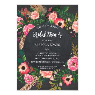 ブライダルシャワーの招待のモダンな花の黒板 カード