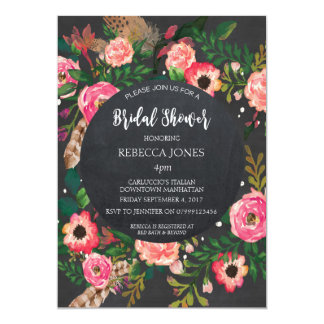 ブライダルシャワーの招待のモダンな花の黒板 12.7 X 17.8 インビテーションカード