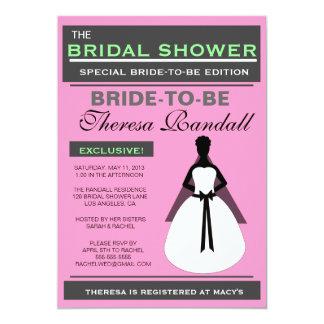 ブライダルシャワーの招待状5のx7ピンクおよび緑 カード