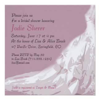 ブライダルシャワーの招待状: ピンクの服 カード