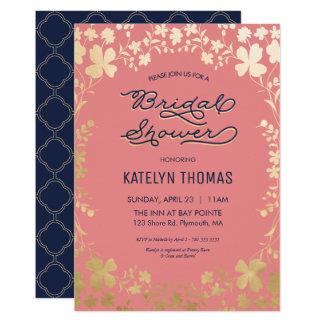 ブライダルシャワーの招待状、海軍、珊瑚、金ゴールドの花柄 カード