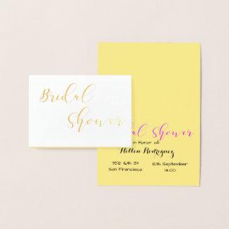 ブライダルシャワーの招待金ホイルカード 箔カード