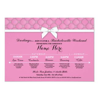 ブライダルシャワーの旅程のピンクのバチェロレッテの招待 カード