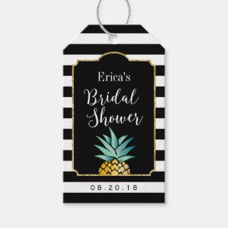 ブライダルシャワーの熱帯パイナップルモダンは縞で飾ります ギフトタグ
