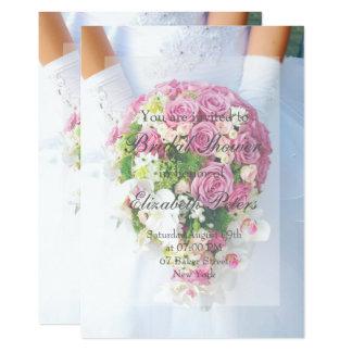 ブライダルシャワーの白いレースの花の花束の結婚式 12.7 X 17.8 インビテーションカード