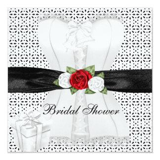 ブライダルシャワーの白黒のコルセットの赤いバラの花 カード
