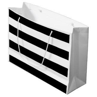 ブライダルシャワーの白黒ストライプ ラージペーパーバッグ