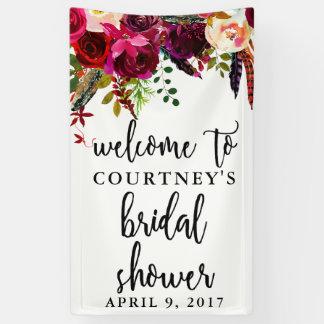 ブライダルシャワーの花のリースの歓迎の旗 横断幕