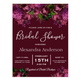 ブライダルシャワーの花のMarsalaバーガンディの招待状 ポストカード