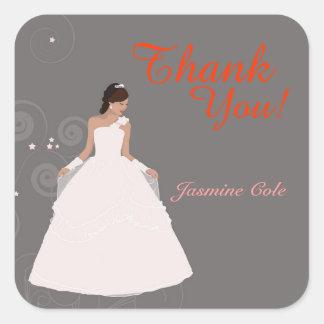 ブライダルシャワーの花嫁の服のギフトのメッセージカード スクエアシール