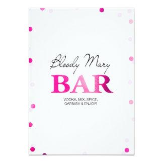 ブライダルシャワーの血メリーのバーの印|のピンクの紙吹雪 カード