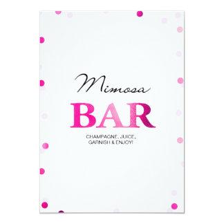 ブライダルシャワーのMimosaのバーの印|のピンクの紙吹雪 カード