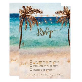 ブライダルシャワーのrsvpカードを結婚するbohoのビーチの砂 カード