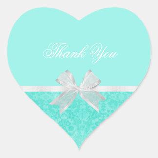 ブライダルシャワーはシックな水のダマスク織の白い弓感謝していしています ハートシール
