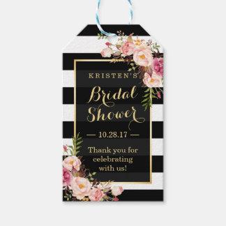 ブライダルシャワーはピンクの花柄が縞で飾る感謝していしています ギフトタグ