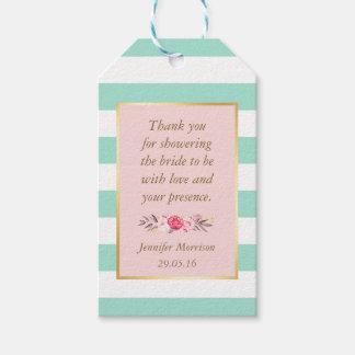 ブライダルシャワーは花のピンクのミントが縞で飾る感謝していしています ギフトタグ