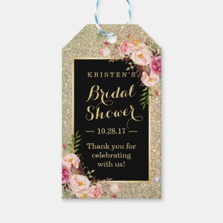 ブライダルシャワーは金ゴールドのグリッターのピンクの花感謝していしています ギフトタグ