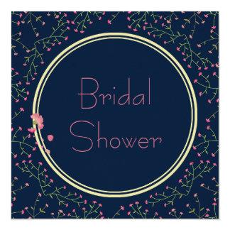 ブライダルシャワー|の真夜中の青い野生の花のリース カード