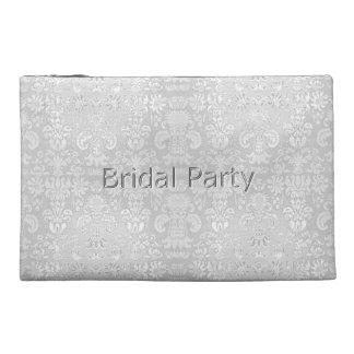 ブライダルパーティー白ダマスク織結婚式好意 トラベルアクセサリーバッグ