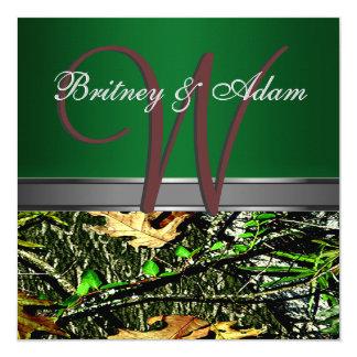 ブラウンおよびコケむした緑の迷彩柄の結婚式招待状 カード